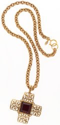 Luxury Accessories:Accessories, Chanel Gold Chain Necklace with Red Gripoix Cross. ...