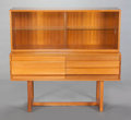 Furniture : American, PAUL LASZLO (Hungarian, 1900-1993). A Two-Piece China Console (Model 1770), circa 1950s. Bleached mahogany and glass. 51... (Total: 2 Items)