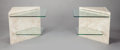 Furniture : Continental, UNKNOWN DESIGNER (Brazilian, 20th Century). A Pair of Marble andGlass Side Tables, circa 1990. Marble and glass. 19 x 2...(Total: 2 Items)