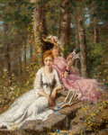 Fine Art - Painting, American:Antique  (Pre 1900), HENRY JOSEPH THOURON (American, 1851-1915). A Favorite SummerPastime, 1873. Oil on canvas. 10 x 8 inches (25.4 x 20.3 c...