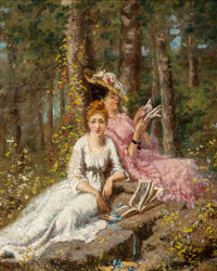 HENRY JOSEPH THOURON (American, 1851-1915) A Favorite Summer Pastime, 1873 Oil on canvas 10 x 8 i