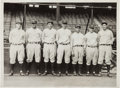 Baseball Collectibles:Photos, 1928 New York Yankees Infield News Photograph, PSA/DNA Type 1....