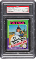 Baseball Cards:Unopened Packs/Display Boxes, 1975 Topps Cello Pack PSA Mint 9 With George Brett Top/Yount onBack! ...