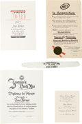 Movie/TV Memorabilia:Documents, A José Ferrer Group of Citations, 1940s-1970s....