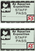 Music Memorabilia:Tickets, Woodstock Music Festival Staff Pass Group (1969).... (Total: 2Items)
