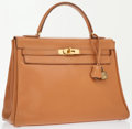 Luxury Accessories:Bags, Hermes 32cm Gold Calf Box Leather Retourne Kelly Bag with GoldHardware . ...