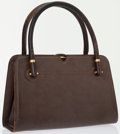 Luxury Accessories:Bags, Gucci Brown Leather Bag with Gold and Wood Accents. ...