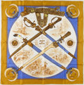 "Luxury Accessories:Accessories, Hermes Gold & Blue ""Armes de Chasse,"" by Philippe Ledoux SilkScarf. ..."