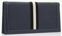 Bally Navy Perforated Leather & Canvas Striped Men's Wallet
