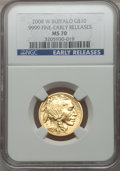 Modern Bullion Coins, 2008-W $10 Quarter-Ounce Gold Buffalo, Early Releases MS70 NGC....