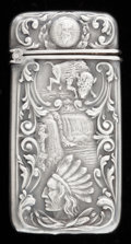 Silver Smalls:Match Safes, AN AMERICAN SILVER AND SILVER GILT MATCH SAFE . Maker unknown,circa 1900. 2-3/8 inches high (6.0 cm). 0.45 troy ounces. ...