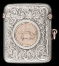 Silver Smalls:Match Safes, A BIRMINGHAM SILVER AND 10K GOLD MATCH SAFE. Maker unknown, circa1900. Marks: (lion passant), (anchor), STERLING SILVER...