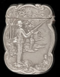 Silver Smalls:Match Safes, AN AMERICAN NICKEL ALLOY MATCH SAFE . Maker unknown, circa 1900.Marks: STERLINE. 2-3/8 inches high (6.0 cm). From the...