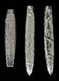 Silver Smalls:Other , THREE AMERICAN SILVER CIGAR CASES . Maker unknown, circa 1900.4-1/8 inches high (10.5 cm) (largest). 2.27 troy ounces. Fr...(Total: 3 Items)