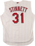 Baseball Collectibles:Uniforms, 2002 Kelly Stinnett Game Worn Cincinnati Reds Jersey Vest. ...