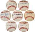 Autographs:Baseballs, Negro League Legends Single Signed Baseballs Lot Of 7 IncludingAaron!....
