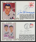 "Autographs:Post Cards, Joe DiMaggio Ken Keltner, And Lou Boudreau Signed First Day Covers Lot Of 2 ""The Streak""...."