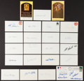 Autographs:Post Cards, Baseball Legends Signed Hall Of Fame Plaques, And Postcards Lot Of46....