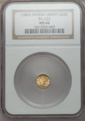 California Fractional Gold: , Undated 25C Liberty Round 25 Cents, BG-222, R.2, MS66 NGC. NGCCensus: (3/1). PCGS Population (2/0). ...