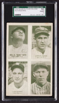 Baseball Cards:Singles (1930-1939), 1934 Exhibits Four-On-One Ruth/Gehrig/Gomes/Dickey SGC 10 Poor1....