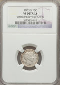 Barber Dimes: , 1903-S 10C -- Improperly Cleaned -- NGC Details. VF. NGC Census:(3/88). PCGS Population (13/203). Mintage: 613,300. Numism...
