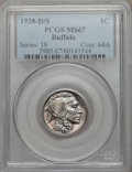 Buffalo Nickels: , 1938-D/S 5C MS67 PCGS. PCGS Population (189/0). NGC Census: (64/5).Mintage: 7,020,000. Numismedia Wsl. Price for problem f...