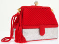 Luxury Accessories:Bags, Judith Leiber Half Bead Silver Crystal & Red Satin Evening Bagwith Shoulder Strap and Secret Compartment . ...