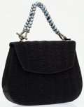 Luxury Accessories:Bags, Judith Leiber Black Ruched Satin Evening Bag with Glass PearlHandle . ...