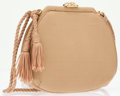 Luxury Accessories:Bags, Judith Leiber Beige Satin Evening Bag with Shoulder Strap andTassels . ...