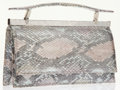 Luxury Accessories:Bags, Judith Leiber Metallic Snakeskin Evening Bag with Crystal Accent....