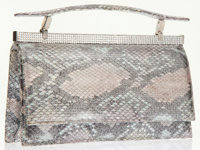 Judith Leiber Metallic Snakeskin Evening Bag with Crystal Accent