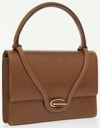 Gucci Brown Leather Small Top Handle Bag with Wooden Closure
