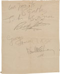 Music Memorabilia:Autographs and Signed Items, Beatles Set of Large Signatures from September 1963....