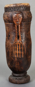 Tribal Art, Kuba (Democratic Republic of the Congo, Central Africa).Bulup dance drum. Wood, brass, leather, fiber and mastic.Heigh...