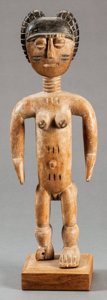 Tribal Art, Fante (Ghana, Western Africa). Female figure. Wood and pigment.Height: 14 inches. ...