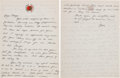 Movie/TV Memorabilia:Autographs and Signed Items, A Bruce Lee Handwritten Letter, Circa 1967....