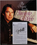 "Music Memorabilia:Autographs and Signed Items, Jimmy Webb Signed Color Billboard Publication ""The MusicInside Jimmy Webb"" (1990)...."