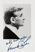 Movie/TV Memorabilia:Autographs and Signed Items, A Leonard Bernstein Signed Black and White Photograph, Circa1970s....