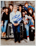 Music Memorabilia:Autographs and Signed Items, Carl Perkins Signed Color Photo, Pictured with George, Ringo, andClapton....