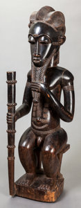 Tribal Art, Baule (Côte d'Ivoire, Western Africa). Male figure. Wood. Height:39 inches. ...