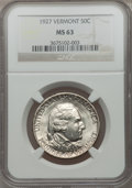 Commemorative Silver: , 1927 50C Vermont MS63 NGC. NGC Census: (456/2280). PCGS Population(989/2810). Mintage: 28,142. Numismedia Wsl. Price for p...