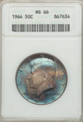 Kennedy Half Dollars: , 1964 50C MS66 ANACS. NGC Census: (501/1097). PCGS Population(975/32). Mintage: 273,300,000. Numismedia Wsl. Price for prob...