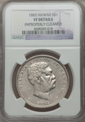 Coins of Hawaii: , 1883 $1 Hawaii Dollar -- Improperly Cleaned -- NGC Details. VF. NGCCensus: (2/364). PCGS Population (1/652). Mintage: 500,...