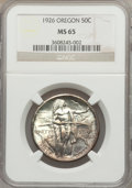 Commemorative Silver: , 1926 50C Oregon MS65 NGC. NGC Census: (683/396). PCGS Population(895/512). Mintage: 47,955. Numismedia Wsl. Price for prob...