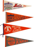 Miscellaneous Collectibles:General, 1960's and 1970's New York Mets and Knicks Pennants Lot of 4....