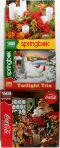 Books:Children's Books, [Puzzles]. Group of Three Christmas Jigsaw Puzzles by Springbook.One still sealed. Fine. . ...