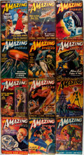 Books:Science Fiction & Fantasy, Amazing Stories Magazine. Lot of Twelve Issues. Chicago: Ziff-Davis, 1940's. Original wrappers. Some toning, edgewear, tape ... (Total: 12 Items)