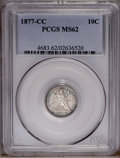 Seated Dimes: , 1877-CC 10C MS62 PCGS. PCGS Population (41/168). NGC Census:(19/234). Mintage: 7,700,000. Numismedia Wsl. Price: $225. (#4...