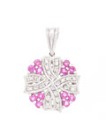 Estate Jewelry:Pendants and Lockets, Ruby, Diamond, White Gold Pendant. ...