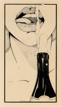 PATRICK NAGEL (American, 1945-1984) Thought Provoking, study for Playboy Advisor, circa late 1970s P